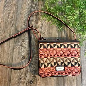 nine west // geometric woven straw crossbody bag
